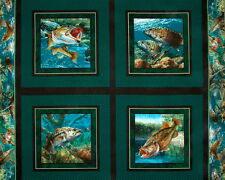 Stillwater Fish Bass Aquarium Fishing Scenic  #43502 Cotton Fabric Pillow PANEL