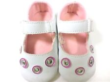 RISING STAR TODDLER GIRLS SIZE 2 WHITE PINK MARY JANE SHOES EASY HOOK & LOOP CLO