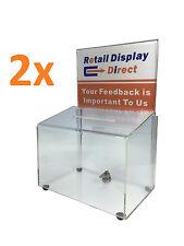 2x Extra Large A4 Acrylic Donation Box Ballot Box Suggestion Box