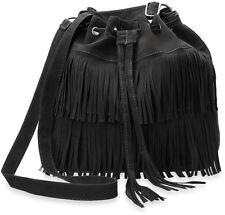 Handtasche Damentasche Beutel Boho - Style mit Fransen Hippie schwarz