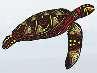 Turtle Aboriginal Sticker art Vinyl Car boat Australian made design 140x105 mm