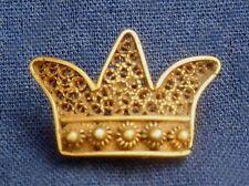 Vintage Crown Stick Pin Artisan Gold Filigree Handmade