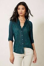 Anthropologie Tiny Teal Embroidered Floral Cardamom Top Buttondown Blouse XS