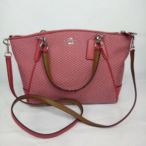 Coach Legacy Jacquard Small Kelsey Satchel with Crossbody Strap Milk Pink