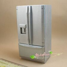 1/12 doll house miniature wooden sliver refrigerator freezer kitchen fridge toy