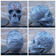 """1.95"""" Chinese Crazy Lace Skull Carved Stone 3.3oz 95g Crystal Healing Realistic"""