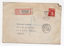 1946 NORWAY Registered Cover BERGEN To LONDON GB SG288a Bank of England