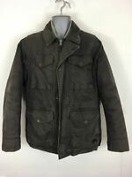 MENS TIMBERLAND BROWN ZIP/BUTTON UP PADDED DETACHABLE LINING CARGO COAT MEDIUM