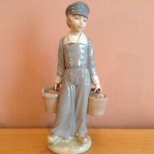 Lladro Retired Figurine #4811 Dutch Boy With Pails Holding Milk Buckets