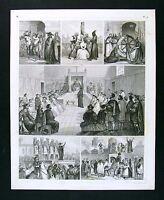 1849 Bilder Print Inqusition Tribunal Torture Fire Wheel - Auto-de-Fe Spain
