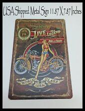 Live the Legend Motorcycle Pinup USA TIN METAL Sign Shop Man Cave DECOR