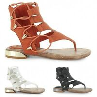 Womens BUNGEE STRAPS Shoes Sandals Flat side zip SIZE 13 THONG  tan