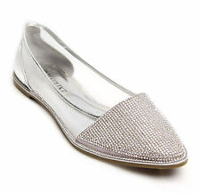 Womens Ballerina Dolly PUMPS Ladies Flat Diamante Mesh Party Sandals Shoes UK 4 / EU 37 Silver