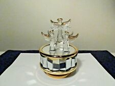 3 Glass Angels With Gold Trim On Mirrored Music Box That Plays Amazing Grace