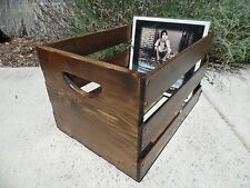 Hand Built Record LP Vinyl Crate Storage Solid Wood - Walnut