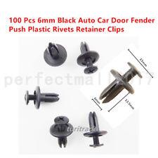 100 x New Auto Car Door Fender 6mm Hole Push Plastic Rivets Retainer Clips Black