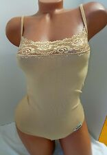 new  cotton beige bodysuit XS spaghetti straps top  thong bottom leotard