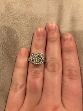 Hello Kitty Sterling Silver Ring w/ Swarovski Crystals Size 6