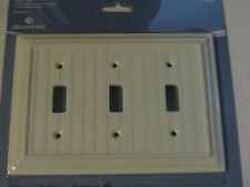 NEW Brainerd Deluxe Triple Toggle Switch Wall Plate Cover White Beadboard