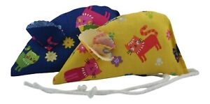 Scatter Pack of 2 Catnip Mice - Navy and Yellow