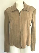 Coldwater Creek Jacket Sweater Sz Petite M Suede Camel Tan Knit Back & Sleeves