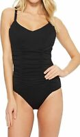 Seafolly Women Swimwear Black US 8 DD Double Ruched Caged Back Swimsuit $138 280