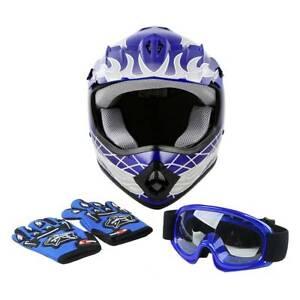 DOT Youth Skull ATV Blue Helmet Motocross S M L XL Kid Motorcycle Bike Boy Girls