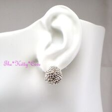 Silver Rodium Plated Oval Huggie Cupped Cluster Earrings w/ Swarovski Crystals