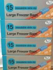 60  LARGE  STRONG SLIDE ZIP RESEALABLE/REUSABLE FREEZER/FOOD BAGS