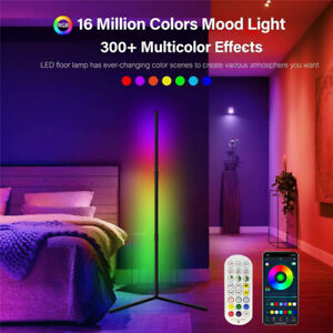 Dreamcolor LED Corner Floor Lamp Bluetooth Music Sync RGB Room Light with Remote
