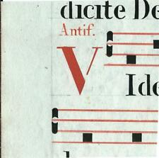Manoscritto antico CAPOLETTERA V in rosso ANTIFONARIO MUSICA 1850 ca. Drop Cap