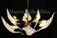 Mid Century Murano Franco Luce Chandelier Calla Lily Leaves Hand Blown Glass