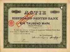 EISENBAHN Rentenbank 1898 Lenz Bank München Frankfurt 1000 M Historische Aktien