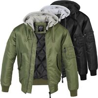 Brandit Jacke MA1 Sweat Hooded Jacket Bomberjacke Fliegerjacke mit Kapuze S-5XL