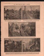 WWI Bataille sur l'Aisne Ruines de Vauxrot Château de Cuffies 1917 ILLUSTRATION