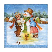 4 Motivservietten Servietten Napkins Weihnachten Kinder bauen Schneemann (336)