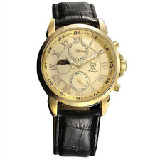 Mens Multifunction Watch Black Leather Band Gold Dial Reloj Pulsera Hombre Cheap