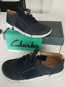 Clarks Trigenic 'Tri Caitlin' Navy Blue Nubuck Leather Lace Up Shoes size 4 D
