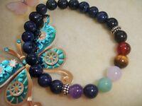 Dumortierite 7 Chakra Healing Balance Bracelet Gemstone Yoga Reiki Prayer Stones