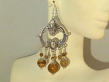 Gemstone Earrings - Picture Jasper & 925 Sterling Silver - long chandeliers
