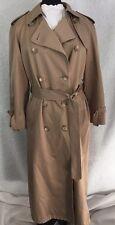 LONDON FOG Classic Women's Tan Belted Trench Rain Coat W/O Zip Lining Size 10