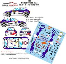 DECALS 1/32 REF 120 PEUGEOT 306 MAXI LOPEZ RALLYE MONTE CARLO 1998 RALLY WRC