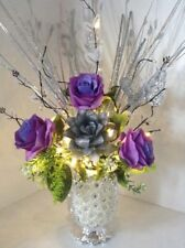 Artificial Flowers Purple & Silver Roses In Silver Sparkle Vase Lights Up