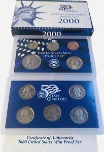 2000 S Proof Set Original Box & COA 10 Coins  US Mint Set  CN-Clad