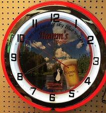 "18"" Hamm's Beer Sign Double Neon Clock"