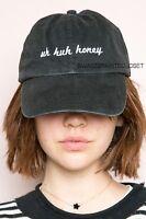 New! Brandy Melville Faded Black Uh Huh Honey Katherine Baseball Hat  NWT