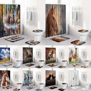 Running Horses Shower Curtain Equine Galloping Animals Fabric Bathroom Decor Rug