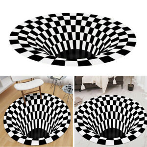 60cm Black White Grid Carpet 3D Illusion  Floor Mat Area Rug Anti-Slip