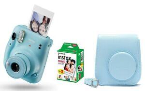 Fuji Instax Mini 11 Sky Blue Himmelblau inkl Tasche + Instax Film 20 Aufnahmen