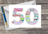 Personalised 50th Birthday Card, Word Art, Gift, For her, Friend, Sister, Mum,